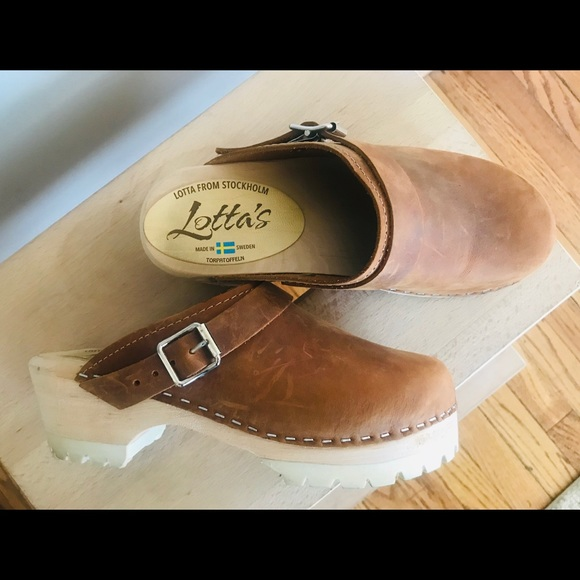 17fe0ca045b00 Lotta From Stockholm Swedish Leather Brown Clog